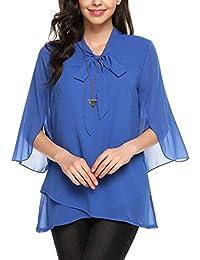 Beyove Damen Elegant Business Chiffonbluse Schluppenshirt T-Shirt mit  Schleife V-Ausschnitt… ffa5d95b10