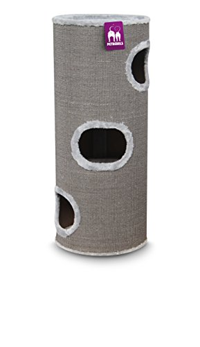 Petrebels Katzen-Kratztonne Groß Champions Only Dome 110 grau. 45x45cm/Höhe 110cm. Katzen-Kratzbaum als Katzenturm XXL stabil für alle normal gewachsenen Katzen und Senioren