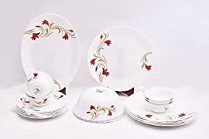 Larah Fluted Red Lily White Dinner Set (21 Pieces)