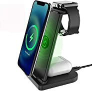 3 in 1 Wireless Charger Stand Fast Qi-Certificated Wireless Charging Station for Apple Watch SE/6/5/4/3/2,Airp