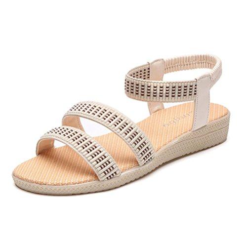 Scarpe della Boemia delle donne piatte Vovotrade Elasticità per il tempo libero Lady sandali peep-toe scarpe da esterno Beige