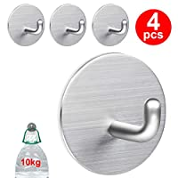 Self Adhesive Hooks, Heavy Duty Stainless Steel Sticky Hanger, Waterproof Hanging Holder Stick on Wall, Door, Closet, Bathroom, Bedrooms, Kitchen for Towel, Coat, Tea Towel, Clothes