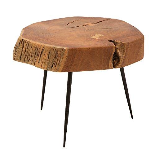 Rustikaler Couchtisch GOA 60cm Akazie Massivholz Dreibein Beistelltisch  Tisch