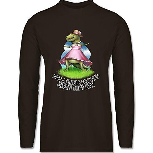Shirtracer Statement Shirts - Not a Single Fck - T-Rex - Herren Langarmshirt Braun