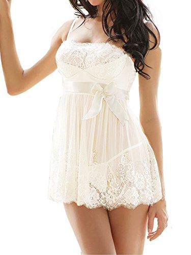 Amoretu Femmes Pyjamas dentelle Babydoll Ensembles de lingerie Blanc