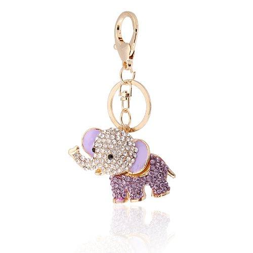 Morado Crystal Lucky Elefante Llavero Bolsa o Encanto, increíbles navideños para Navidad