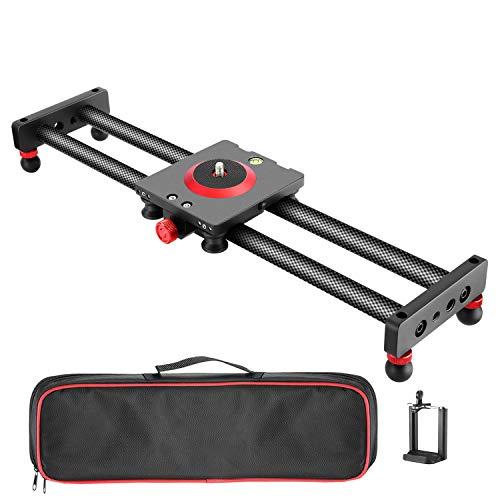 Neewer Mini Kohlefaser Kamera/Handy Slider Dolly Schiene Schieber, 40cm Rail Slider Schiene Kamerawagen für Smartphone, DSLR Kamera, Camcorder - 3 Slider-handy