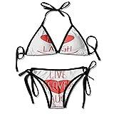Soft Bikini Swimsuits,Heart Icon with Smiling Sexy Bikini 2 Pieces