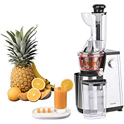 Extracteur de Jus de Fruits et Légumes vertical GSX24 H.Koenig Centrifugeuse Vitamin + sans BPA - 82 mm Large Bouche - 3 tamis pour jus fin ou épais et sorbet - Pression douce - 50 tours 400 W