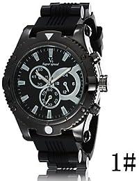 Relojes Hermosos, Modelos de explosión v6 grande de silicona deportes de moda reloj de cuarzo banda de los hombres de línea ( Color : # 2 )