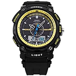 OHSEN YI-AD1209-5 LCD Date Day Stopwatch Dual Core Mens Sport Rubber Watch Yellow