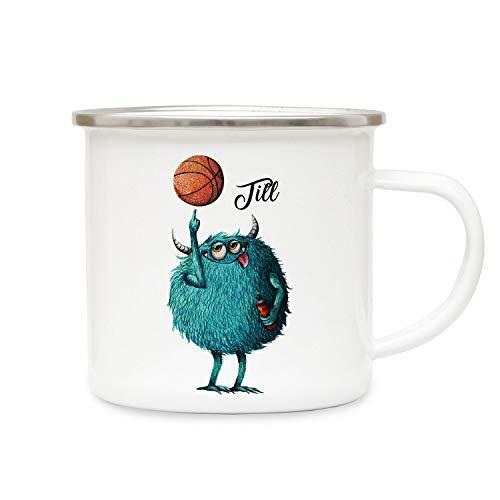 o-welt Emaillebecher Becher Tasse Camping Monster Basketball & Wunschname Name Kaffeetasse Geschenk eb392 - ausgewählte Farbe: *bunt* ausgewählte Größe: *3. Monster Basketball* ()