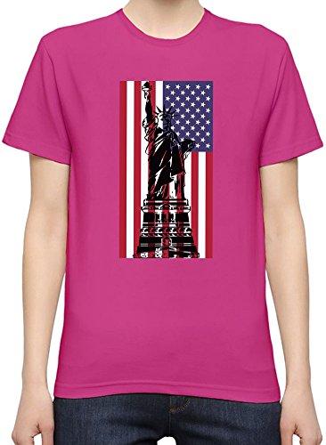 Usa Flag Liberty Statue Slogan Kurzarm-T-Shirt fŸr Frauen Medium