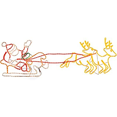 WeRChristmas 1.6 m Large Pre-Lit Santa Sleigh Reindeer LED Rope Light Christmas Silhouette Decoration - inexpensive UK light shop.
