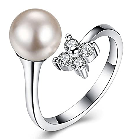 SaySure - 925 Sterling Silver Jewelry Pearl Crystal Flower Rings