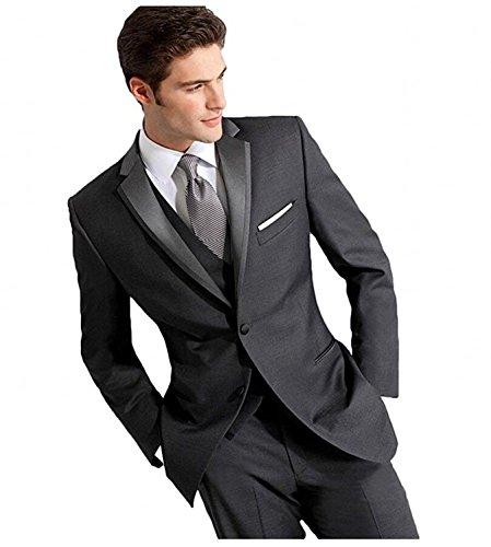 YSMO Herren Dunkelgrau 2-Knopf-3-Stück-Anzug Smoking Blazer Jacke Hosen Weste Kleid Prom (3-knopf-blazer-jacke)