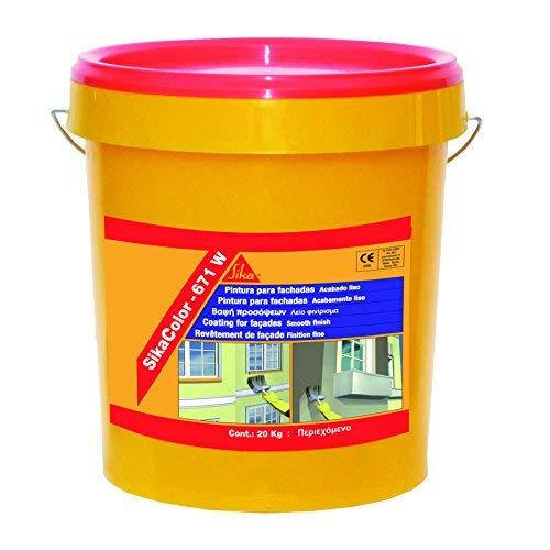 SikaColor 671W, Pintura de protección y decorativa para fachadas, 20kg, Blanco
