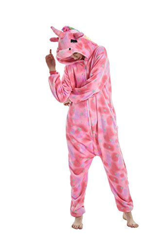 heekpek Jumpsuit Tier Cartoon Fasching Karneval Halloween kostüm Erwachsene Unisex Cosplay Sleepsuit Pyjama Overall Kostüm (Rosa Einhorn, M:Geeignete Höhe - Sexy Cartoon Kostüm