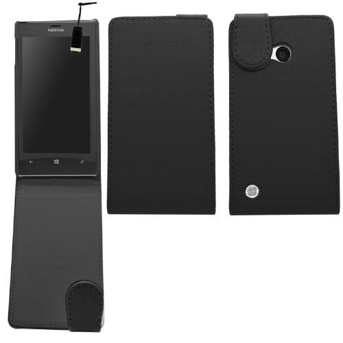 Samrick 0000431246 Speziell Ledernen Flip Schutzhülle mit Schirm Schutz, Microfasertuch und Mini Aluminium Kugelschreiber für Nokia Lumia 720/720 RM-885 schwarz