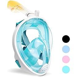 ACTENLY Panorama entièrement Masque Tuba Masque Masque de plongée Masque intégral de plongée avec 180° Fenêtre, Joint en Silicone Anti-N & étanche pour Enfants et Adultes Anti Fog Anti Leak S/M Vert