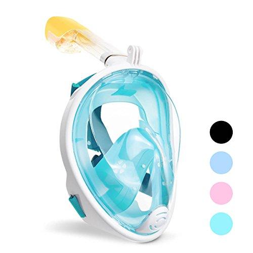 ACTENLY Panorama Vollmaske Schnorchelmaske Tauchmaske Vollgesichtsmaske mit 180° Sichtfeld, Dichtung aus Silikon Anti-Beschlag & Wasserdicht für Kinder und Erwachsene Anti-Fog Anti-Leak (Grün, S/M)