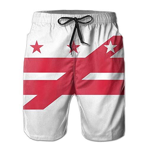 Dc Mens Dress (OPoplizg Men's Washington DC Flag Disorder Quick Dry Summer Beach Surfing Board Shorts Swim Trunks Cargo Shorts,M)