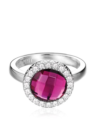 ESPRIT Damen-Ring 925 Sterling Silber rhodiniert Kristall Zirkonia classiness red pink