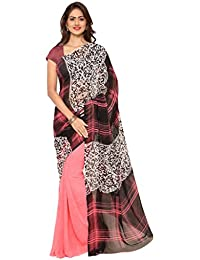 Ligalz Women's Pink And Black Georgette Saree (Special Discounted Price Only For THE GREAT INDIAN FESTIVAL)