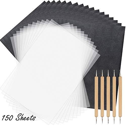 TUPARKA 150 Blatt Durchschreibepapier und Transparentpapier mit 5 Stücken Prägestiften Stylus-Werkzeuge, schwarzes Transparentpapier zum Aufzeichnen auf Holz, Zubehör für Stoff-Tattoo-Schablonenkopien