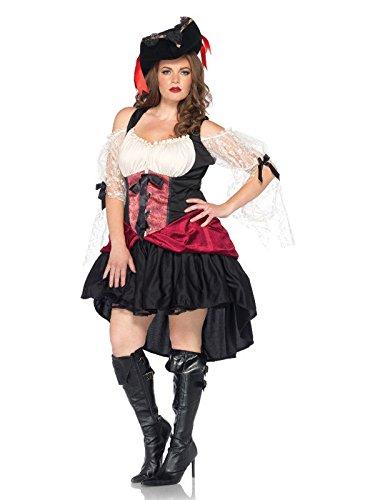KULTFAKTOR GmbH Sexy Barock-Piratin Damenkostüm übergrössen schwarz-rot-Weiss XXL