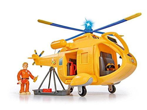 feuerwehrmann figur Simba 109251002 - Feuerwehrmann Sam Hubschrauber Wallaby II mit Tom Thomas Figur/ mit Licht und drehbarem Rotor/ mit Seilwinde/ 6 Sitzplätze/ mit Originalsound/ 34cm