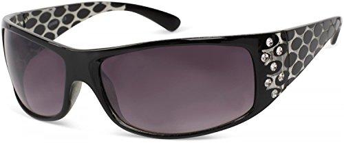 styleBREAKER lunettes de soleil avec strass et branche large avec optique circulaire, verre dégradé, pour femme 09020058 Monture noire / verre dégradé gris-violet