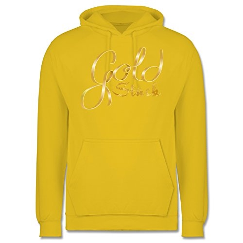 Statement Shirts - Goldstück - Männer Premium Kapuzenpullover / Hoodie Gelb