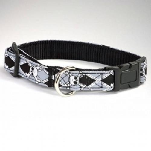 Artikelbild: Hunter Halsband / Halsung Krazy Scull Vario Basic/ L / Band schwarz gebuggt / Nylon schwarz / schwarz-grau mit Totenköpfe