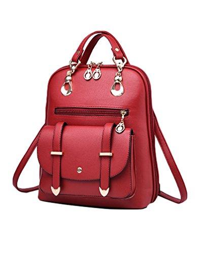 CHENGYANG Mädchen Classic Schultertasche Rucksack Für Outdoor Elegent Multifunktionales Handtaschen Rotwein