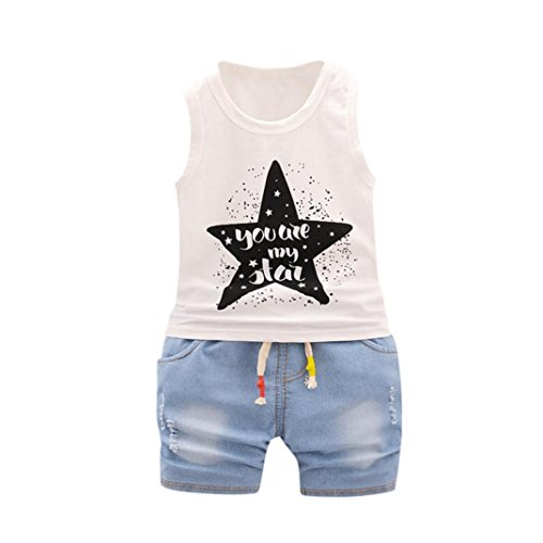 Babykleidung Neugeborenes Brief Tops Weste + Shorts Outfits Kleidung Set Mädchen Shorts tops Hose Outfits Sommer Kinderbekleidung Boy Set (12M-4T) LMMVP (Weiß, 90CM (18M))