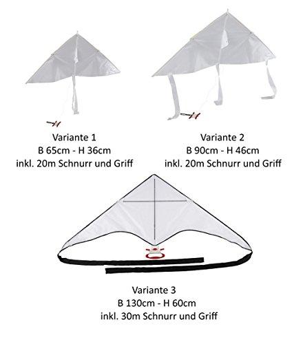 Drachen zum selber Gestalten und Bemalen aus Nylon mit Seil (verschiedene Größen) (Variante 2 (90x46))