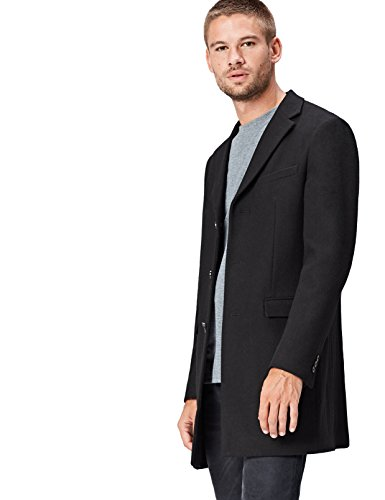 FIND Herren Woll-Mantel , Schwarz (Black) , Medium