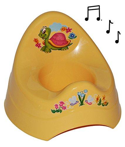 Unbekannt Töpfchen / Nachttopf - mit Musik / Sound - groß - mit großer Lehne + Spritzschutz - Schildkröte gelb - Babytöpfchen / Kindertopf / Lerntöpfchen - Toilettentra..