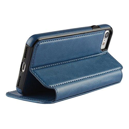 """MOONCASE iPhone 7 Étui, Housse en Cuir Support à rabat Coque Case avec Porte-cartes Fentes pour iPhone 7 (4.7"""") Rouge Bleu"""