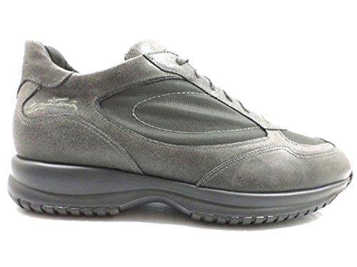 scarpe uomo SANTONI 44,5 EU sneakers grigio pelle tessuto AZ294