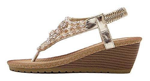 Aisun Damen Modern Lack Strass Metallic Keilabsatz Sandalen Zehentrenner Gold
