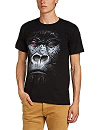Printed Wardrobe Men's Big Face Animal Gorilla Crew Neck Short Sleeve T-Shirt