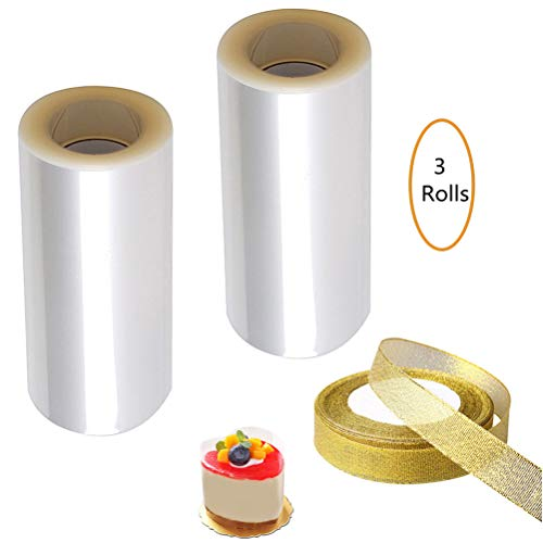 pengxiaomei Cake Collars 10cm x 20m x 125 micron, 2 Rolls Clear Acetate Sheets Transparent with 1 Roll Gold Ribbon for Chocolate Mousse Baking, Cake Decorating