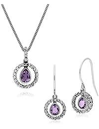b146ca1fb Gemondo Sterling Silver Tear Drop Amethyst and Round Drop Earrings & 45cm  Necklace Set
