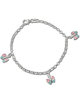 CLEVER SCHMUCK Silbernes Armband 16 cm Schmetterling pink-rosa blau lackiert glänzend STERLING SILBER 925 mit...