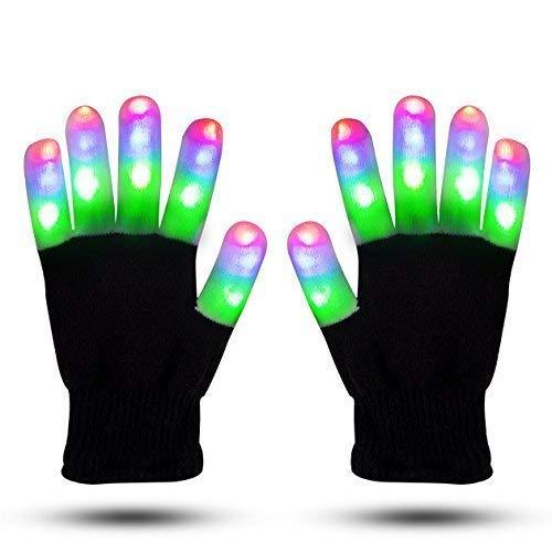 TOPBSET LED Handschuhe LED Blinklicht Fingerlos Bunte Handschuhe Blinkende Handschuhe Spielzeug für Weihnachten Party Karneval Kostüm Beleuchtung Geschenke für Kinder Mädchen Junge (Erwachsener)