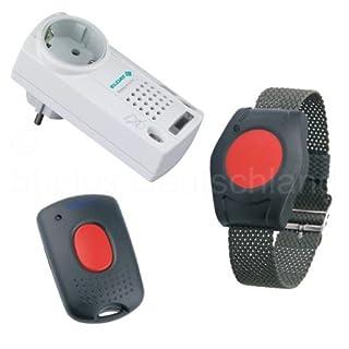 Pflegeruf-Set / Hausnotruf / Senioren-Hausalarm / Senioren-Sicherheitspaket 1 - (mit Funk-Armbandsender, Empfänger mit Quittierungsfunktion und Mikro-Handsender zum Abstellen des Empfängers aus der Entfernung