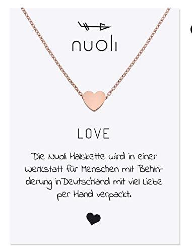 Nuoli Kette Herz Damen (45 cm) Halsketten für Frauen, Filigrane Kette, Freundschaftskette in Rosegold, Glücksbringer als Geschenk