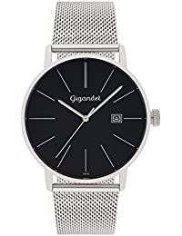 Gigandet Herren-Armbanduhr Minimalism Quarz Uhr Analog Milanaise Edelstahlarmband Schwarz Silber G42-006